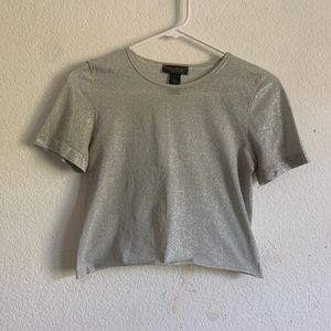cropped shimmery stretch tee